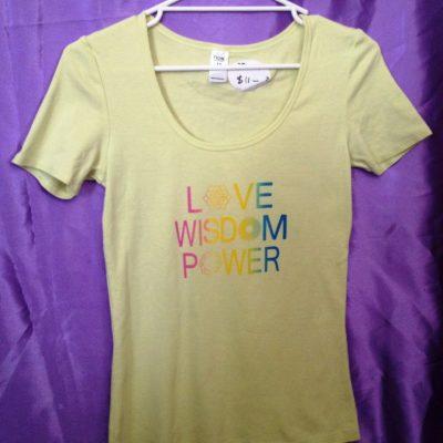 Love Wisdom Power on yellow sorbet shirt