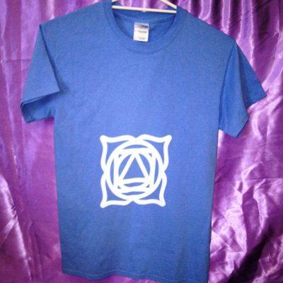 Base of the Spine chakra on blue shirt