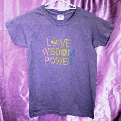 Love Wisdom Power on violet shirt