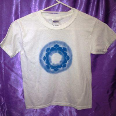Throat chakra on white shirt