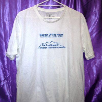 Magnet of the Heart on white shirt