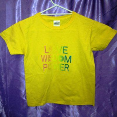 Love Wisdom Power on yellow shirt